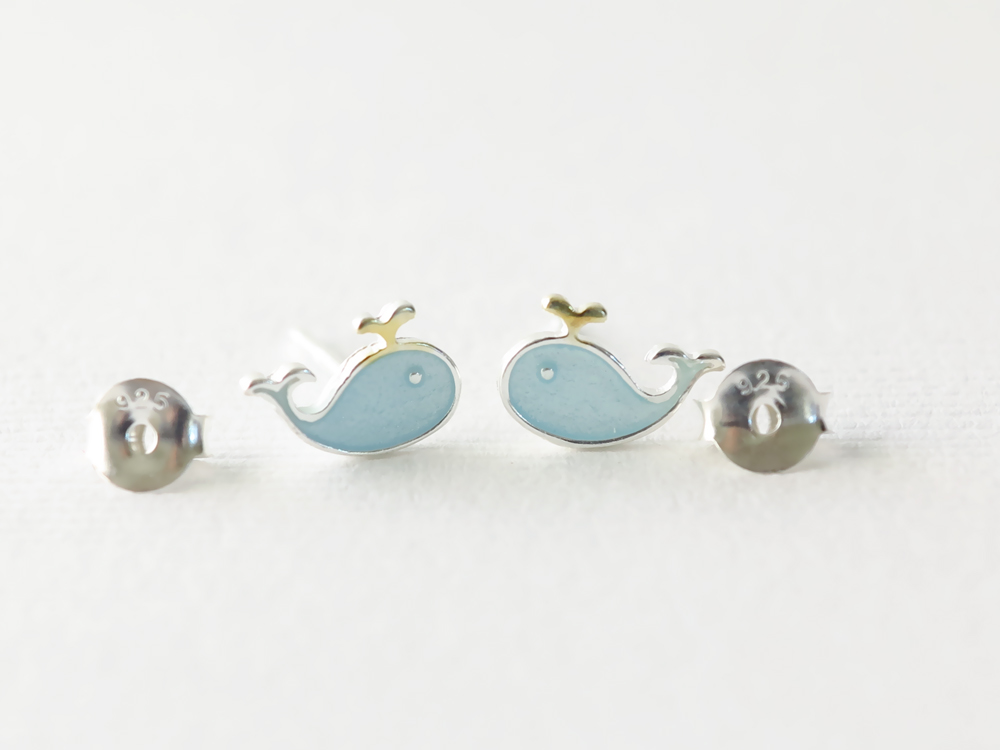 Baby Blue Whale Stud Earrings Previous