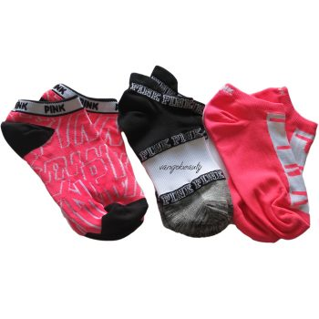victoria_secret_pink_No_show_boat_socks_orange_black_socks_1