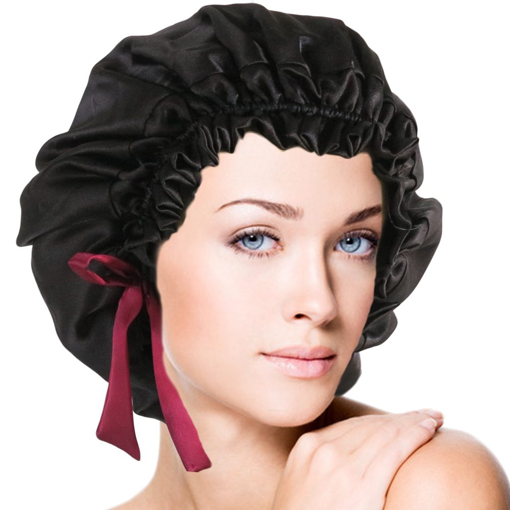 Double Layers Silk Sleep Cap Hair Wrap Jet Black One Size Fits Most